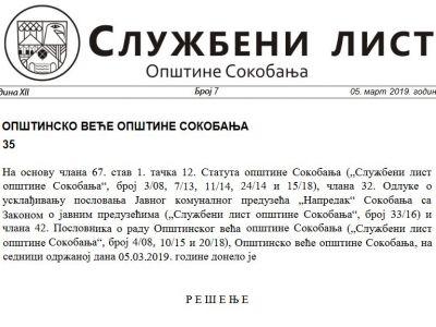 Službeni list opštine Sokobanja br.7 2019
